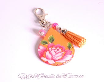 Bag pattern floral Chinese orange