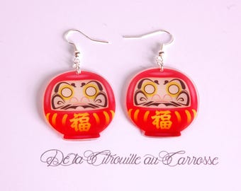 Daruma Japanese lucky charm earrings