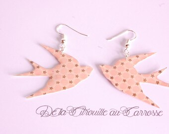 Bird pattern with dots and stars earrings