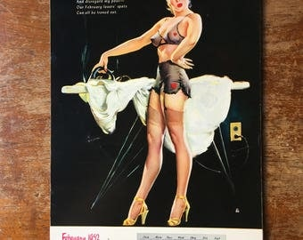 1952 Pinup Calendar Elvgren All 12 Months In Great Condition