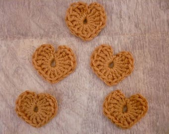 crochet hearts, set of 5 beige cotton