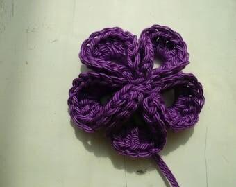 kanzashi flower crochet purple cotton crochet flower applique