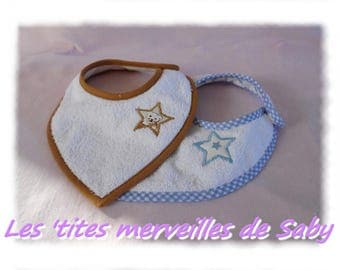 set of two blue and Brown anti-bavouille bandana bibs
