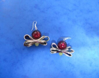 Burgundy Pearl and floral fabric earrings