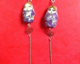 pair of nesting dolls purple earrings