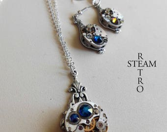 Steampunk jewelry set bermuda Blue - Christmas gift - gift for her