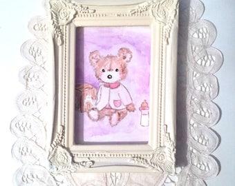 """Lili bear and cube"", small acrylic painting"