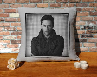Jon Hamm Pillow Cushion - 16x16in - Grey