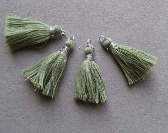 Tassels handmade olive green, silver ring.  set of 4
