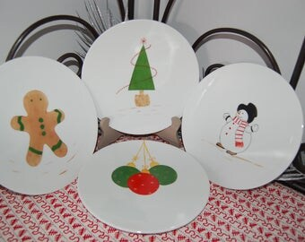 Set of 4 dessert plates: with Christmas motifs