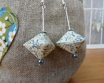 Carton paper blue and white leaves origami earrings olive