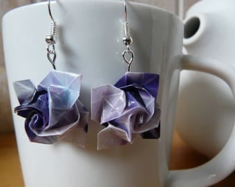 Pink paper flowers layer mauve and purple origami earrings