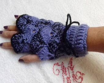 Purple and black crochet gloves, one size