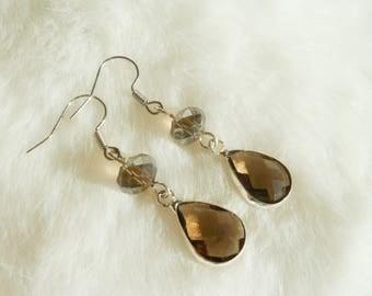 Smoky glass pendants and Silver earrings