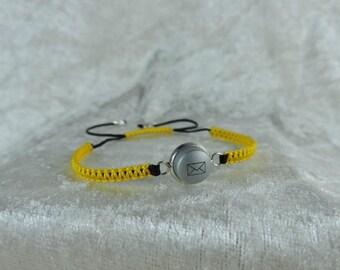 Geeky yellow vitamin, recycle button, adjustable bracelet bracelet bracelet