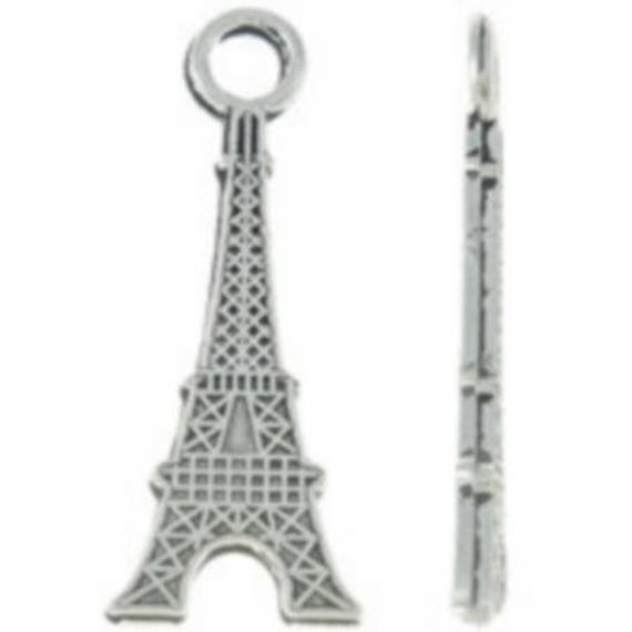 """Set of 5 charms """"Eiffel Tower"""" color silver size 14 x 31 mm"""