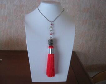 tassel and Red swarovski crystal necklace