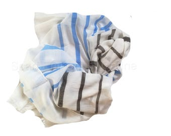 Lovely Blue &Brown  cream Stripe Scarf / Fashion Accessories / Women Scarves / Gifts For Her