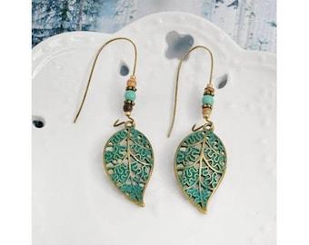 bronze leaf earrings blue green turquoise verdigris oxidation