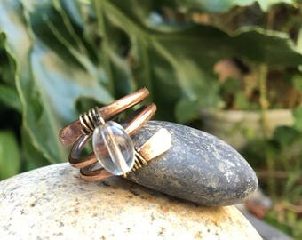 Clear Beaded Copper Double Ring