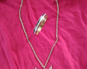 Vintage Gold Eagle Necklace and Bracelet Set