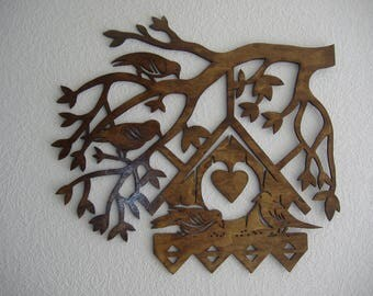 wall hanging or table nest birds tree branch