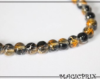 Set of 25 stained 6 mm black glass beads & Orange 1445