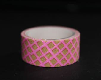 roll of masking tape 3 pink checkered meter
