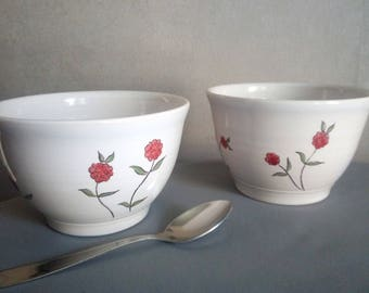 Set of 2 handmade breakfast Bowl / Peony Collection