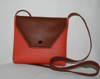 Brown and brick/orange faux leather purse