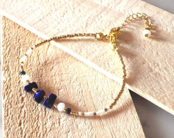 Gold plated, Crystal beads and stone adjustable semi precious Lapis Lazuli - Miyuki beaded bracelet