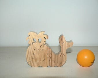 """""""Whale"""" animal puzzle-cut wood."""
