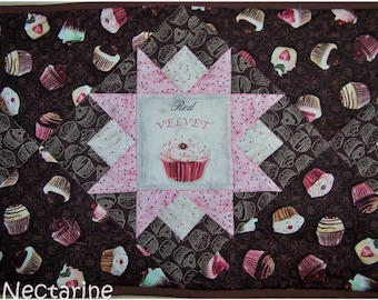 """Cupcakes"" Brown and pink patchwork table runner"