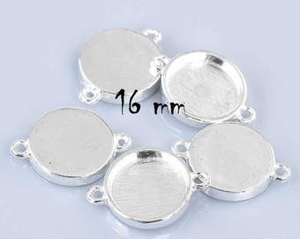 16 mm set of 10 connectors for cabochons Silver Stick