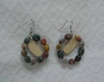 Earrings with Jasper and bone bead