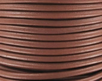 1 mm Brown round leather cord