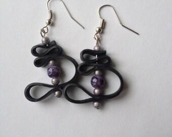 Room recycled bike tube and marbled bead earrings