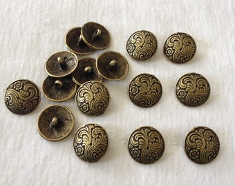 Round bronze metal button with flower 17 mm set of 5 pieces 1 loop wire bronze vintage style