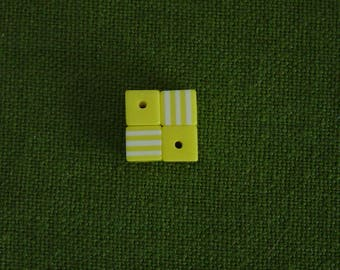 4 yellow and white 8 mm striped cube resin beads