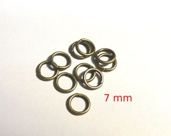 Set of 10 rings bronze 7 mm - lead and nickel free