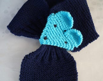 Hand knitted blue Fox scarf