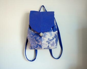 Blue and Purple Canvas Backpack