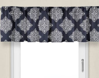 Window Valance Navy Medallion Valance For Bedroom Valance Curtains Window  Treatment Dining Room Valance Kitchen Window