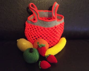 Dinette: shopping bag orange fluo and grey and its fruits entirely crocheted