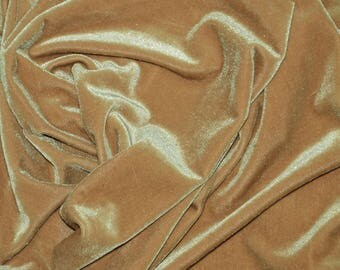 BEIGE Stretch Velvet Knit Fabric - Solid 4-Way Stretch Polyester Spandex Lycra - By The Yard