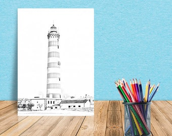 Gray scale Lighthouse Printable