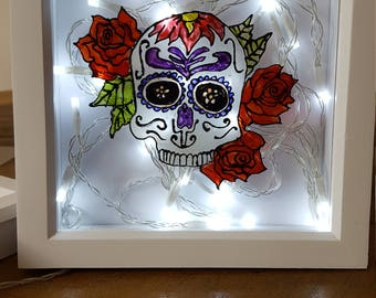 Hand painted glass with deep light up frame, any custom design you want!