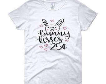 Bunny kisses t-shirt, perfect gift, easter shirts, gift idea, Women's short sleeve t-shirt
