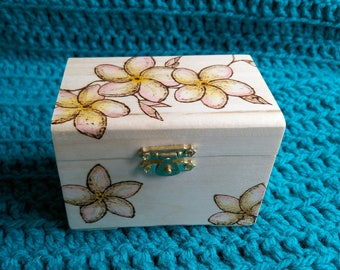 Plumeria Flowers Wooden Watercolour Pyrography Trinket Box