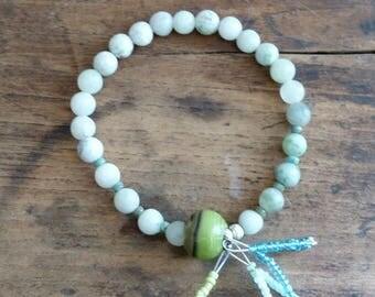 Stretch Bracelet boho chic natural green jade